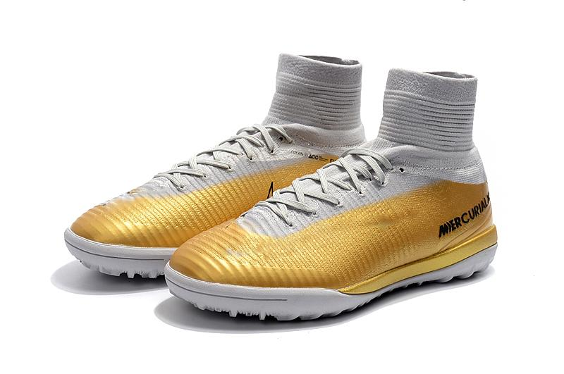 Hot Cristiano Ronaldo Turf Football Boots 100% Original Gold White CR7 Soccer Cleats Mercurial Superfly V TF Indoor Soccer Shoes