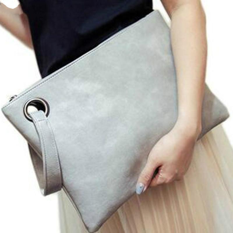 Bolsa de cuero del embrague del diseñador-sólido de la manera mujeres del bolso del sobre de las mujeres de la cremallera Bolso de noche Mujer Embragues bolso Torebki DAMSKIE