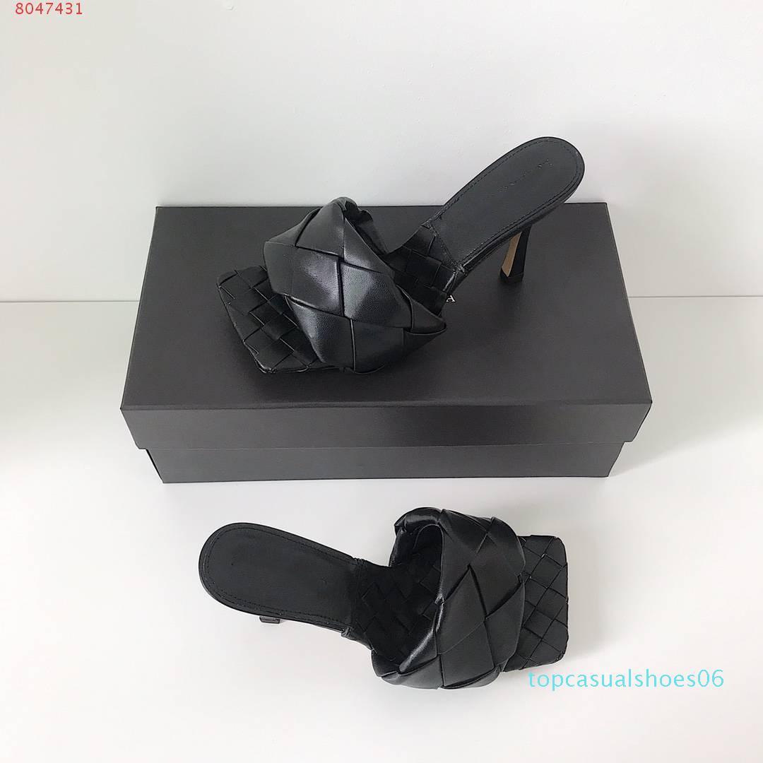 2020 Gli ultimi pantofole di cuoio reali delle donne calza muli suola Quadrato, tallone di aprire-piantato Woven scarpetta morbida nappa Lido sandali, 9 centimetri tacco T14