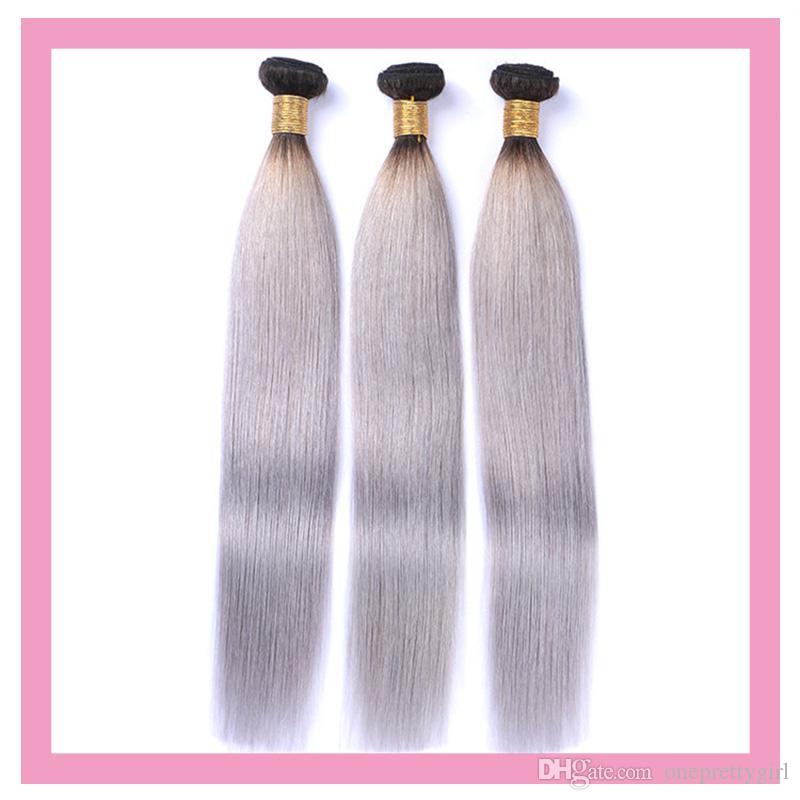 الشعر العذراء البرازيلي 1B رمادي 3 حزم أومبير الإنسان الشعر 1B / رمادي الشعر المنتجات 10-28inch مزدوجة لحمة 3 قطع / الكثير