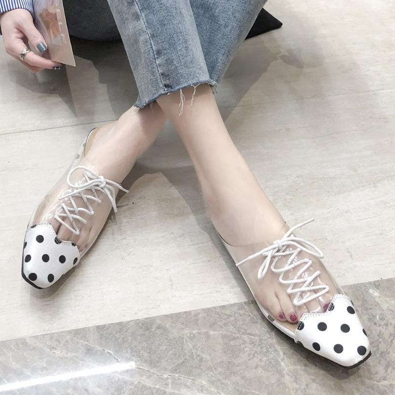 scarpe di Eillysevens donne merletto trasparente fino pantofole 2020 di modo selvaggio punto stampato mezza punta pistoni piani tacchi pantofole # g40
