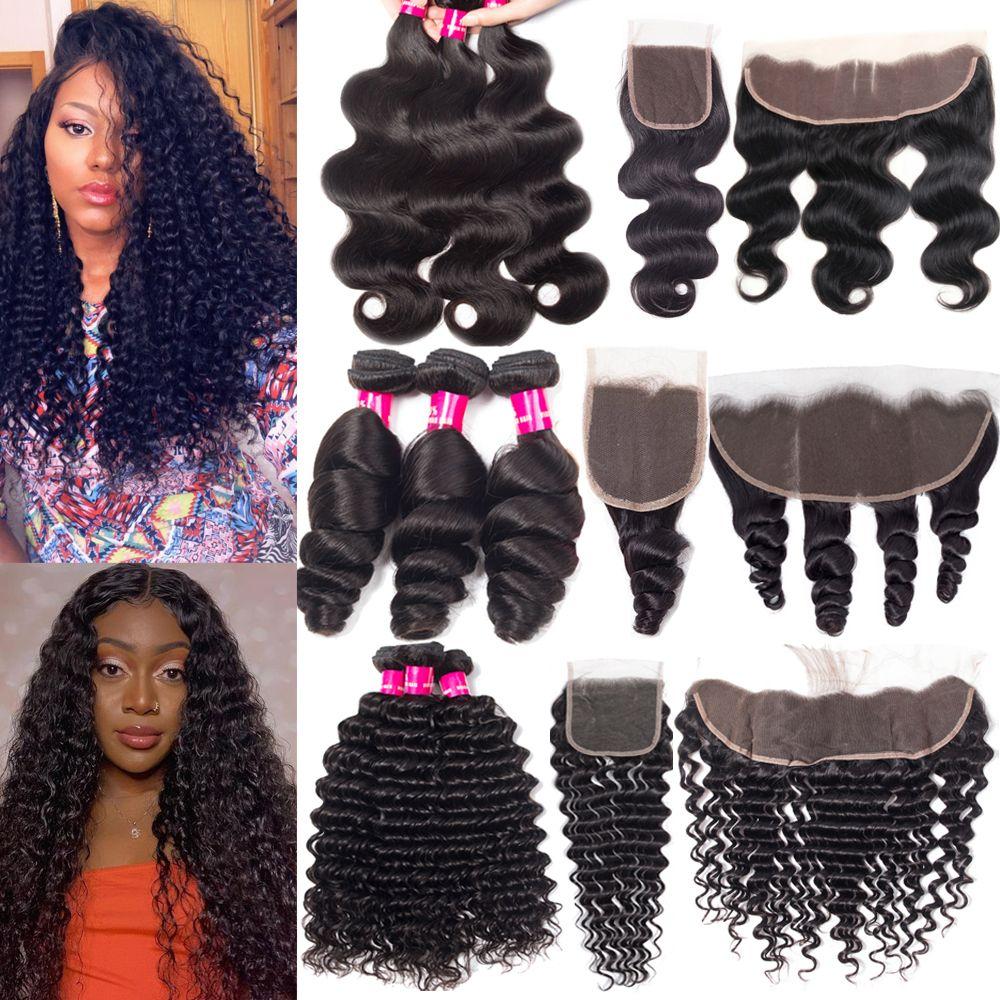 9a paquetes de cabello virgen brasileño con cierre de encaje de cierre 4x4 o oreja de 13x4 a orejas de encaje frontal paquetes humanos con tejido de pelo de cierre