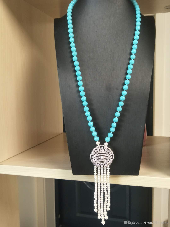 Vendita calda nuovo 8 millimetri blu stile perla shell perla d'acqua dolce bianca accessori collana zircone maglione monili a catena