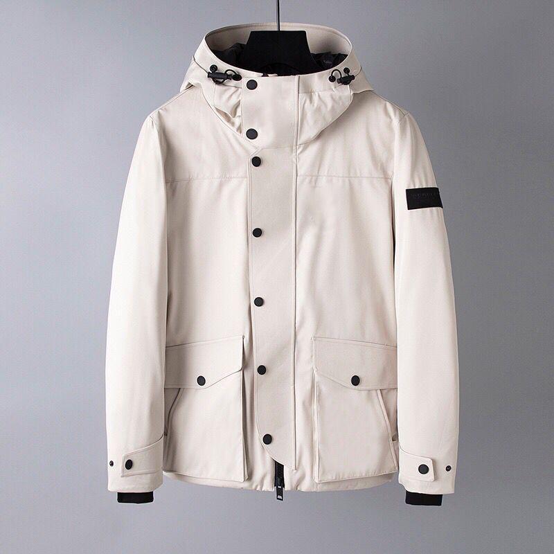 2019 Yeni Aşağı Ceket Siyah Beyaz Burb Erkekler Büyük Kapşonlu Bbr Açık Moda Suya Kalın Düğme Ceket İnce Parkas