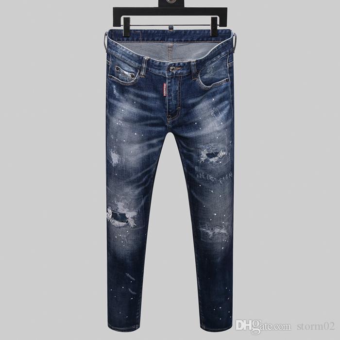 New Designer Jeans Men's Hot Brand Men's Perforated Jeans Designer Trend men's Fashion skinny jeans four season pants h13467