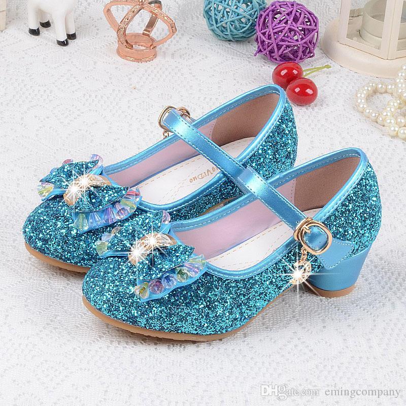 Designer Children Princess Sandals Kids Girls Wedding Shoes High Heels Dress Shoes Bowtie Gold Shoes For Girls 4 Colors Wholesale