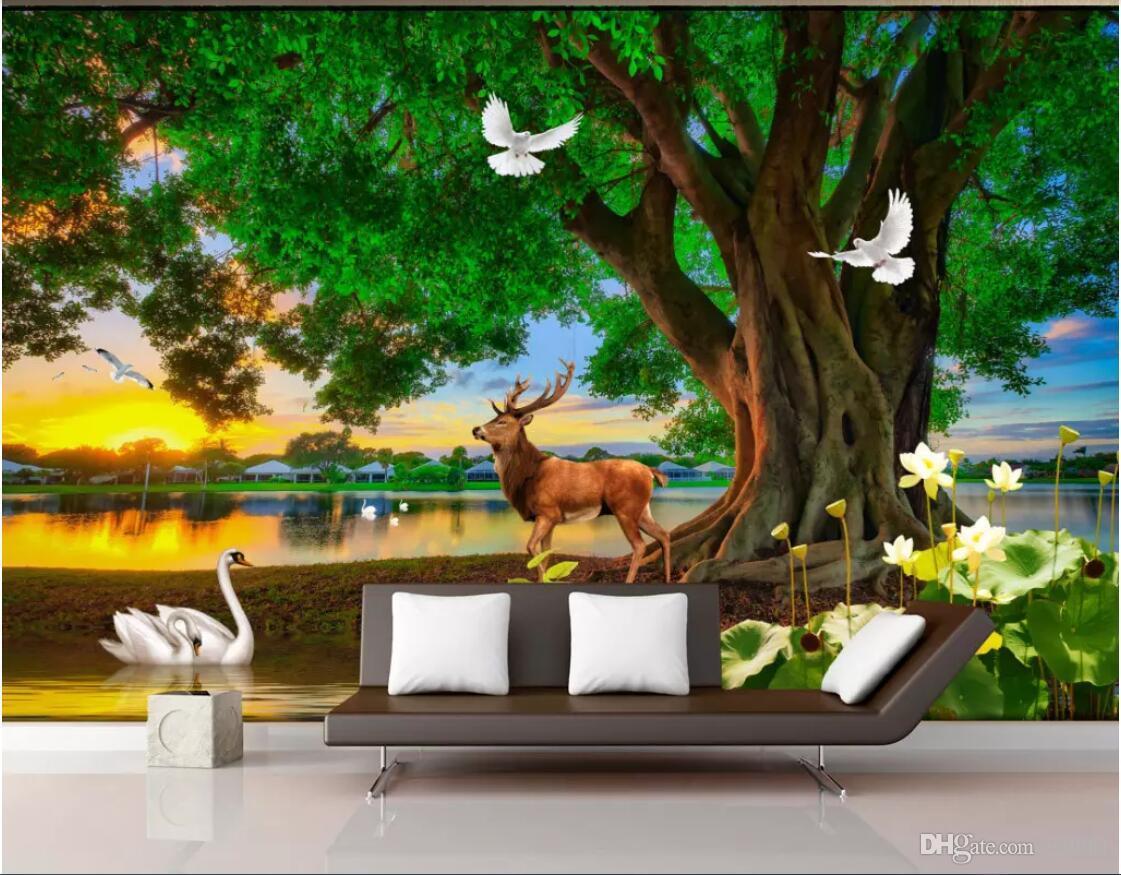 3d personalizada foto del papel pintado mural de fondo del árbol verde, alces, lago de los cisnes lona arte de la pared árboles arte de la pared de lona escenario fotos