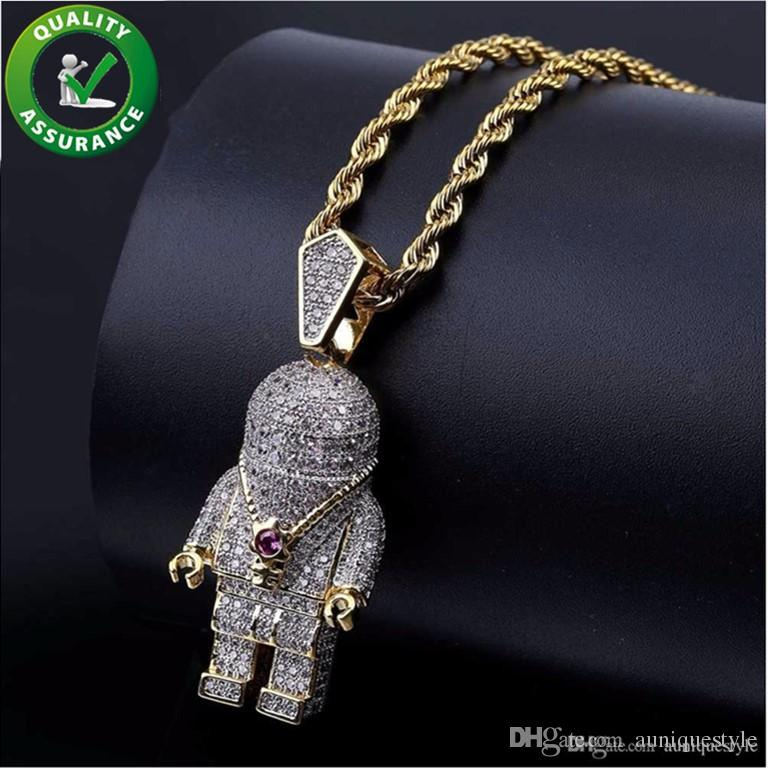 Iced Out Pendant Hip Hop Jewelry Mens Bling Chain Pendants Designer Necklace Luxury Pandora Style Charms Micro Paved CZ Diamond Fashion Rap