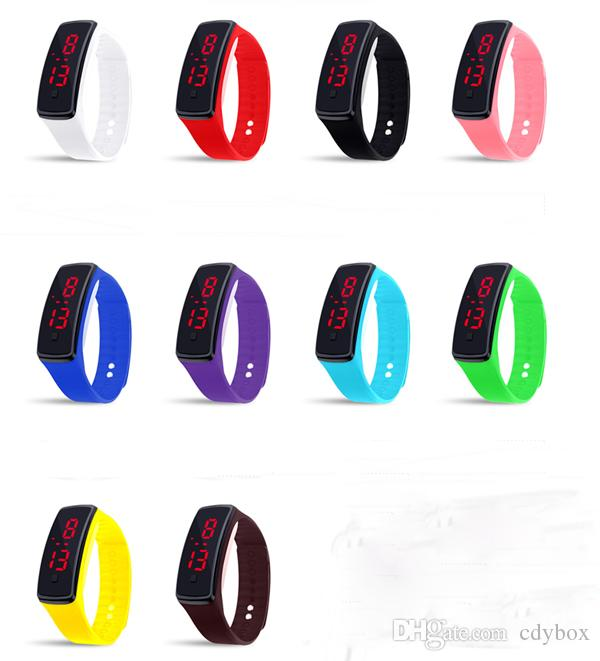 Unisex Silicone LED Digital Creative Touch Screen Sport Watch Bracelet Birthday Gifts 10 Colors for Choose
