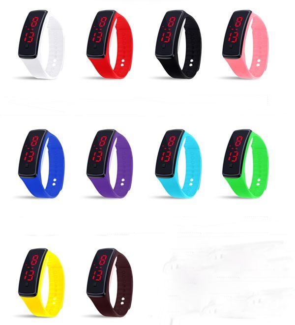 Vente chaude unisexe silicone LED numérique Creative écran tactile montre de sport Bracelet Cadeaux d'anniversaire 10 couleurs pour choisir