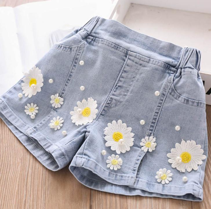 Moda infantil shorts jeans quentes de verão 2020 calções flor nova pérola meninas jeans crianças apliques cowboy casuais calças curtas A2414