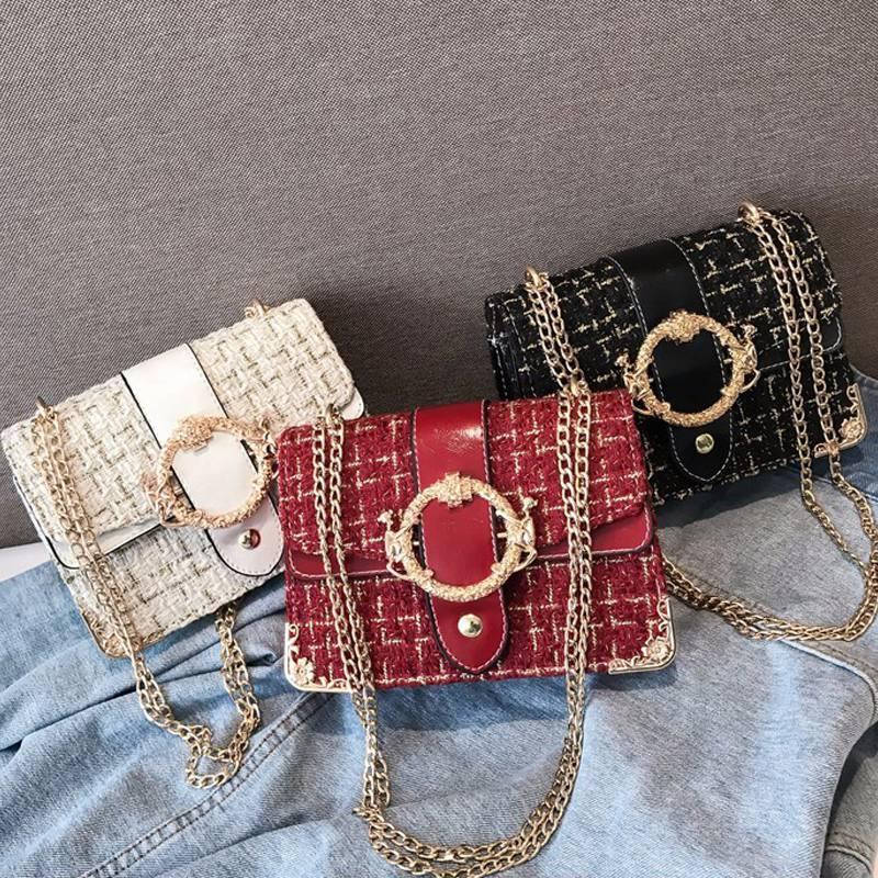 Ragazze caldi delle donne 2019 borse a tracolla a catena Borse Shopping Vintage Messenger di modo selvaggio femminile del sacchetto di lana