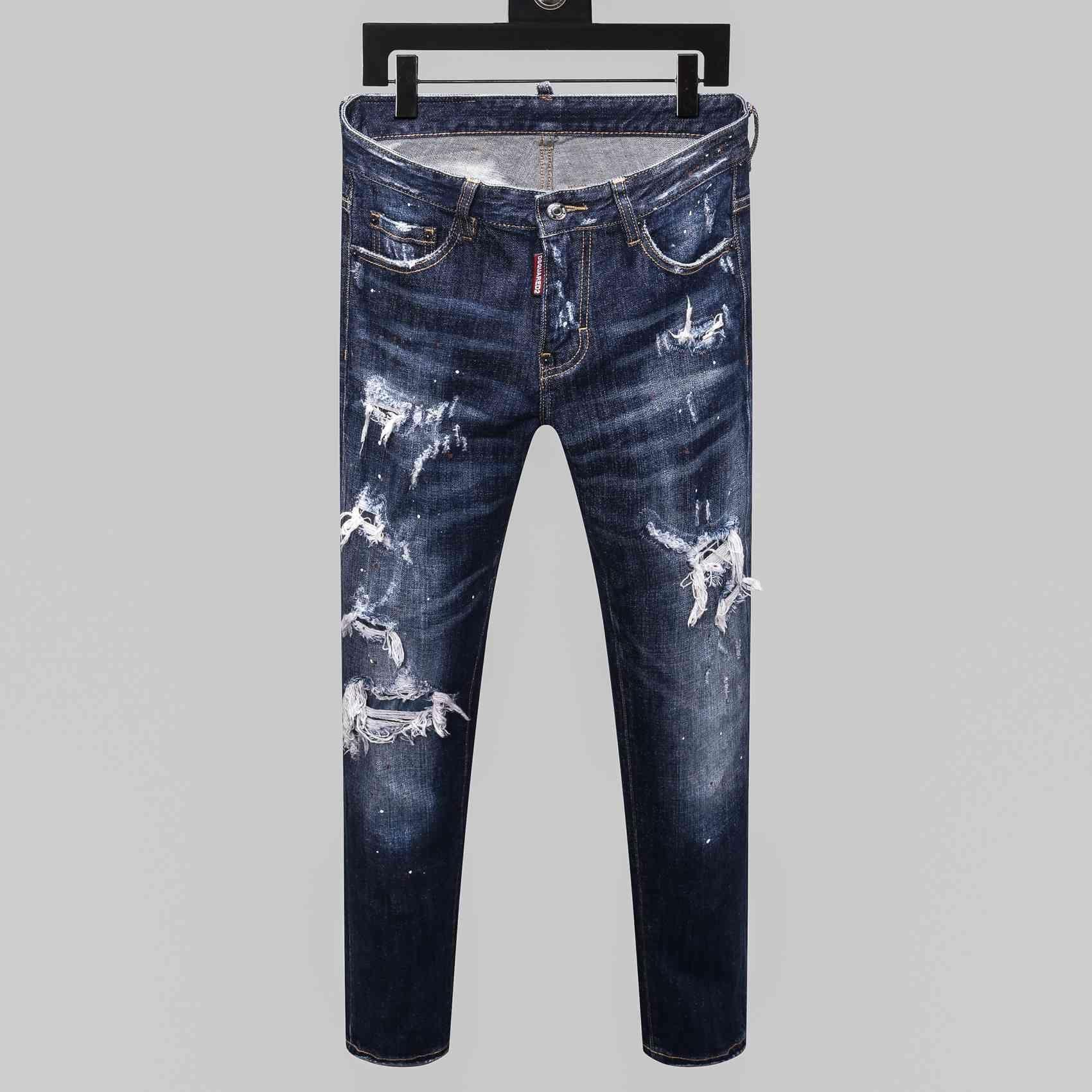 calças de brim 20SS New Moda quente calças de brim furadas desenhador de moda jeans apertado dos homens da tendência dos homens Four Seasons marca calças H036