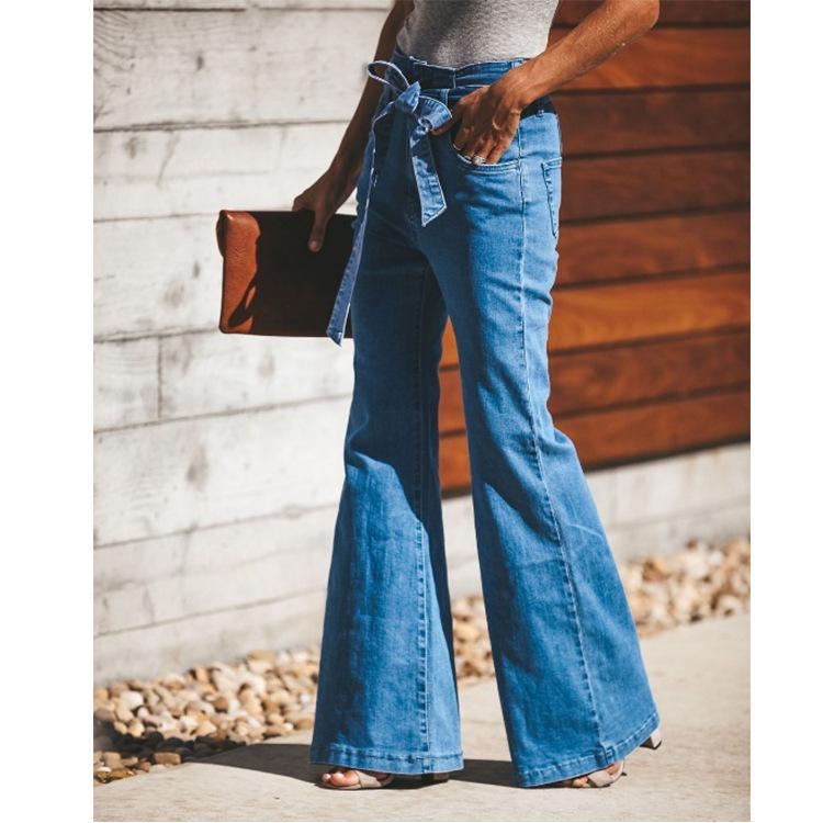 E-Baihui 2020 transfrontalière Jeans de femme en dentelle taille haute jambe large Jeans 677