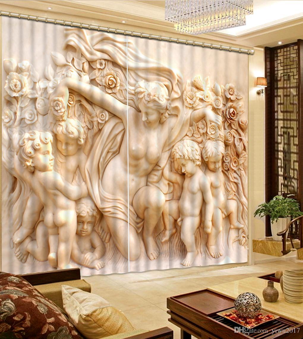 Poupée sainte luxe 3d fenêtre rideau salon chambre de mariage Cortina Drapés taille personnalisée