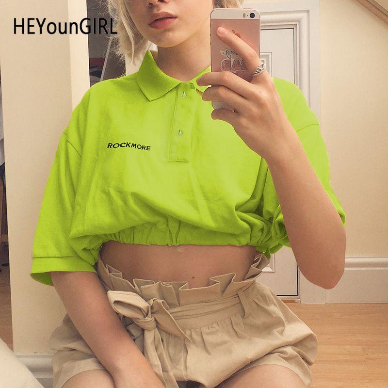 HEYounGIRL Estilo coreano Neon Green Ladies T Shirt Media manga Casual Camiseta Mujer Turn-down Collar Harajuku Camiseta Mujer