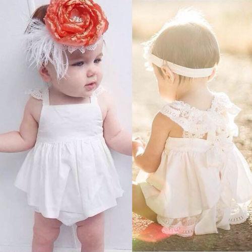 Kleinkind-Baby-Outfits Kleidung Spitze Backless Gestreifte süßer Ballkleid-Sleeveless Sommer-T-Shirt Spitze-Kleid-Spielanzug