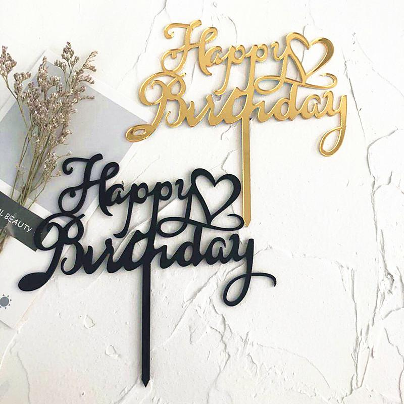 2019 Happy Birthday Acrylic Cake Topper Gold Heart Cupcake Topper For Kids Birthday Party Cake Decorating Supplies Baby Shower