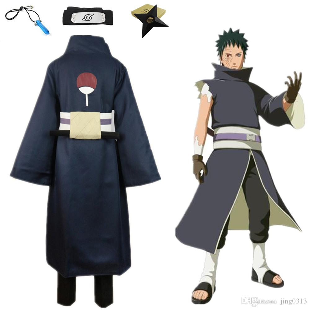 Japan Anime Naruto Hokage Uchiha Obito Cosplay Costume Cloak Uniform Cape with Prop Full Set ( Asian Size )