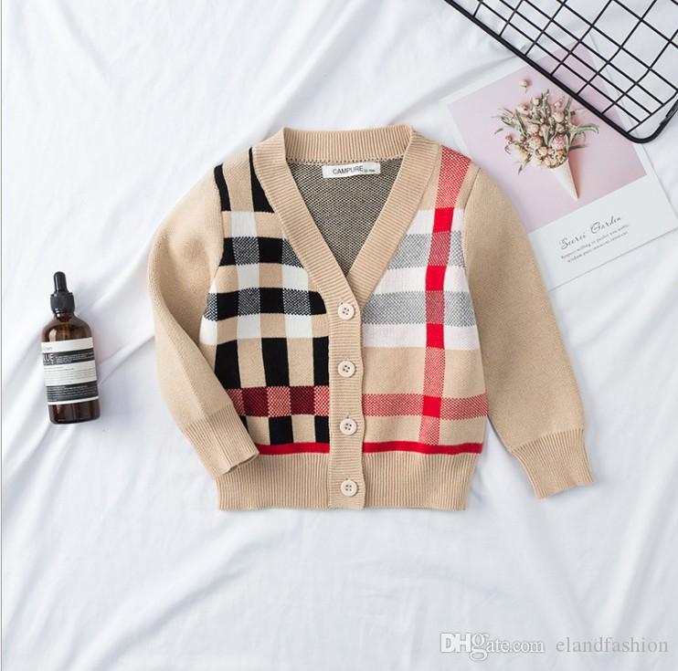 Kinder Stricken Strickjacke 2019 Herbst-Jungen-England-Art Klassische Plaid Sweater Kleinkinder mit V-Ausschnitt Baumwolle Gentleman Sweater