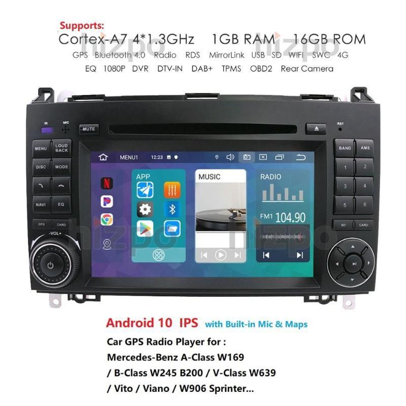 4G Car Multimedia player Android 10 2Din GPS Autoradio For //A-Class W169/B-Class W245/V-Class W639 1G car dvd