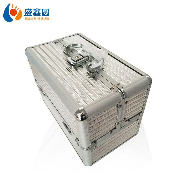 Doble Abierto de aleación de aluminio de maquillaje caja de cosméticos caja de herramienta Munsu maquillaje portátil caja de aluminio de la caja de Mei Jia Xiang Profesión