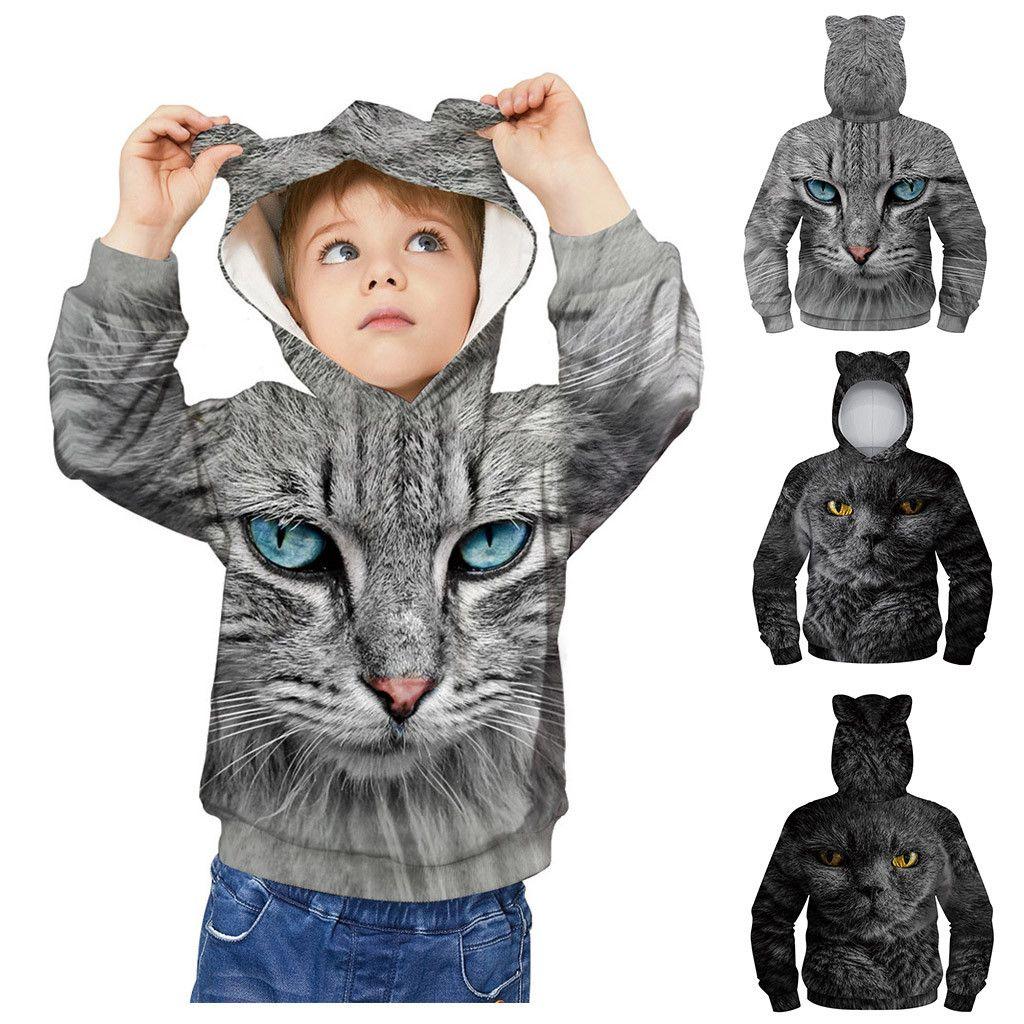 Unisex Cartoon Animals 3D Printed Pullover Long Sleeve Fleece Hooded Sweatshirts with Pockets