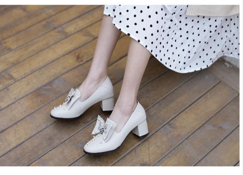 2020 весной и осенью с новой модой стиля Высокого каблуком Грубых пятками круглой головой бантом обуви Женской @ MQWBH776