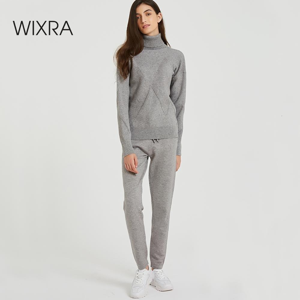 Wixra Herbst-Winter-beiläufige gestrickte Frauen-Sets Rollkragen Langarm-Pullover Lace-up Hosen Solidee Sets für Damen V191212