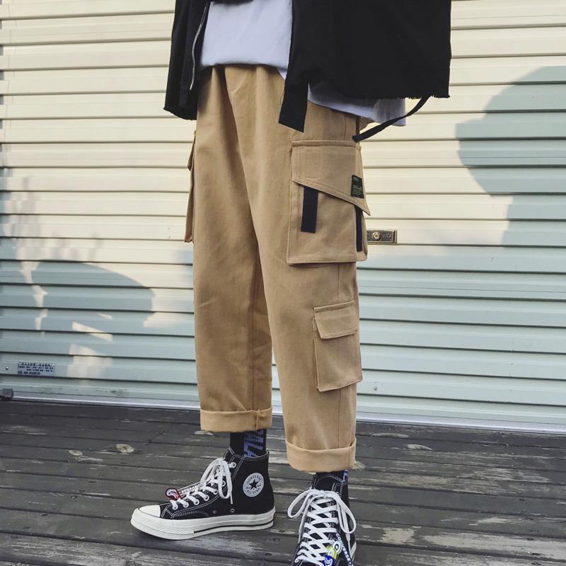 2019 Automne Printemps Les Derniers Hommes Tendance Marque Slim Casual Chaud Pantalon De Mode Coréenne Loose Pocket Cargo