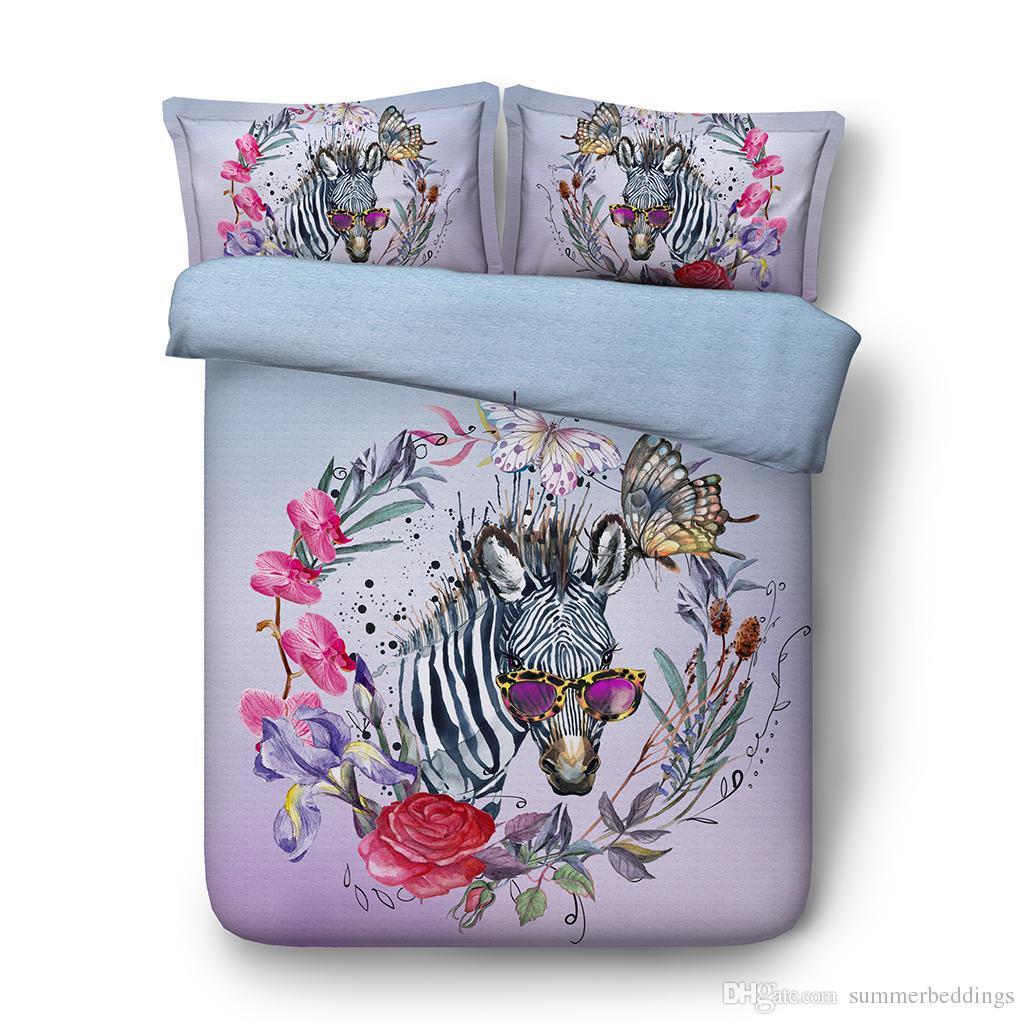3pcs Duvet Cover 2 Pillow Shams Set For Kids Girls Boys Cartoon Zebra Butterfly Watercolor Pattern Comforter Quilt Cover Bedding Set Zipper