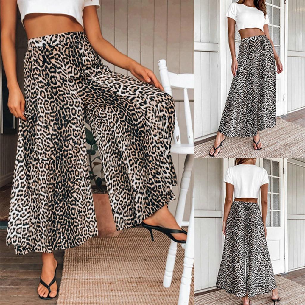 Sommer-Leopard-breite Bein-Hosen-beiläufige hohe Taillen-Comfy ????? ??????? ?????? ????? pantalon S-XL lose Großhandel Z4 Polyester 2020