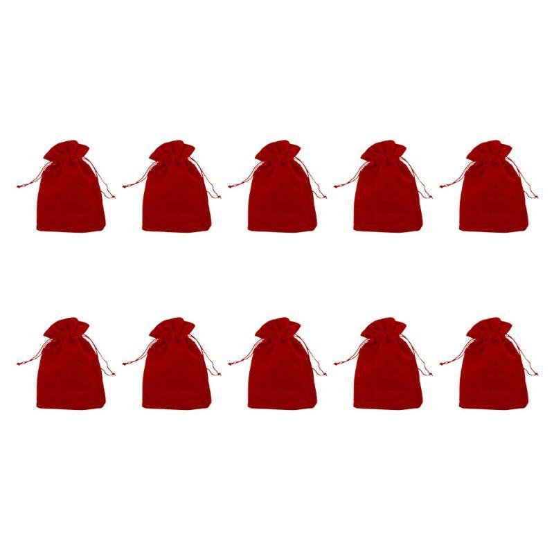 10pcs Rouge Pochette en tissu velours avec cordon de serrage Bijoux Emballage cadeau sacs à cordonnet de soirée de mariage Décoration