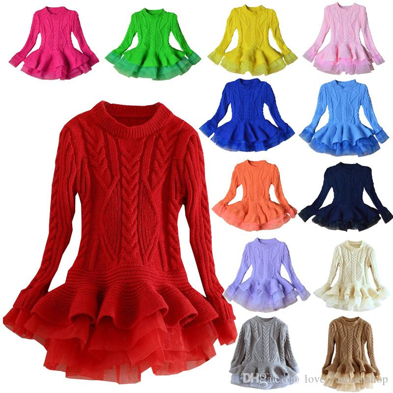 Retail 13 colors kids designer clothes girls organza knitted sweater princess dress Autumn Winter luxury Christmas party boutique dresses