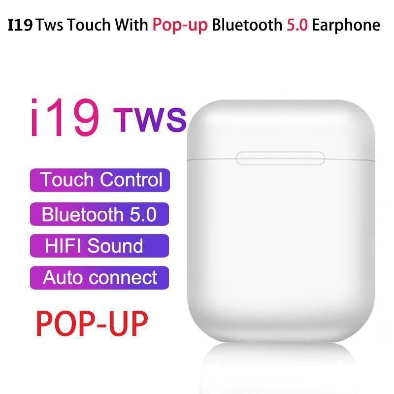 I19 TWS سماعات لاسلكية بلوتوث 5.0 تعمل باللمس التحكم الآلي يطفو على السطح الرياضة سماعة ستيريو 3D مع حالة شحن كيه I13 I10 i14