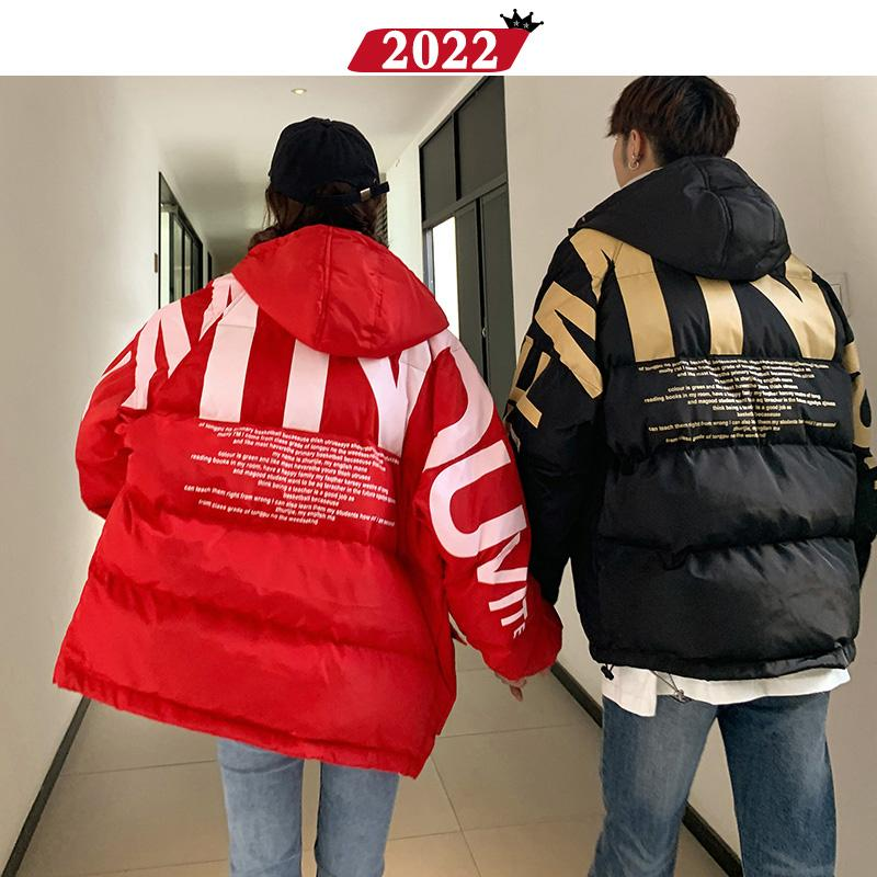 Hombres Streetwear Hop Parka de gran tamaño Parka Chaqueta Abrigos Carta Burbuja HIP Imprimir Fashions Coreano 2021 Para hombre Klmxq