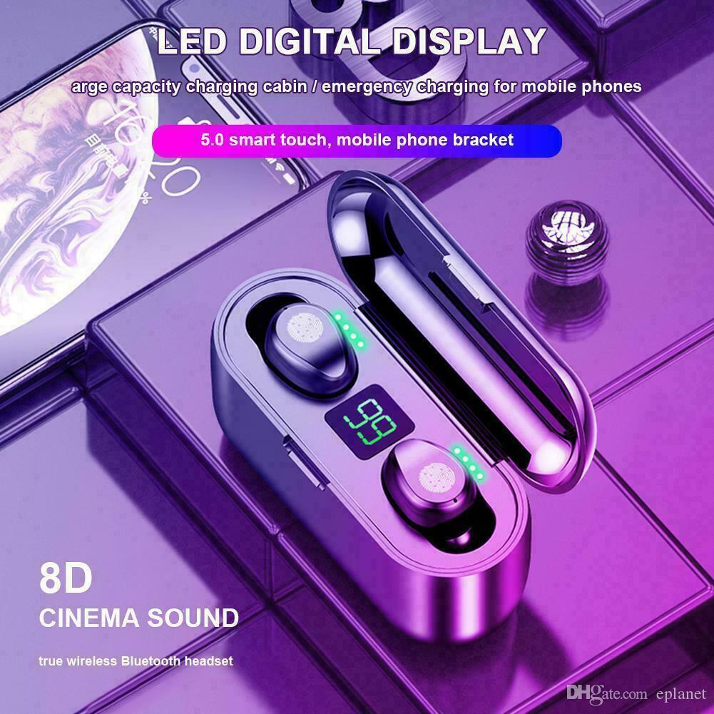 Беспроводные наушники Bluetooth V5. 0 F9 TWS беспроводные наушники Bluetooth LED дисплей с 2000mAh Power Bank гарнитура с микрофоном
