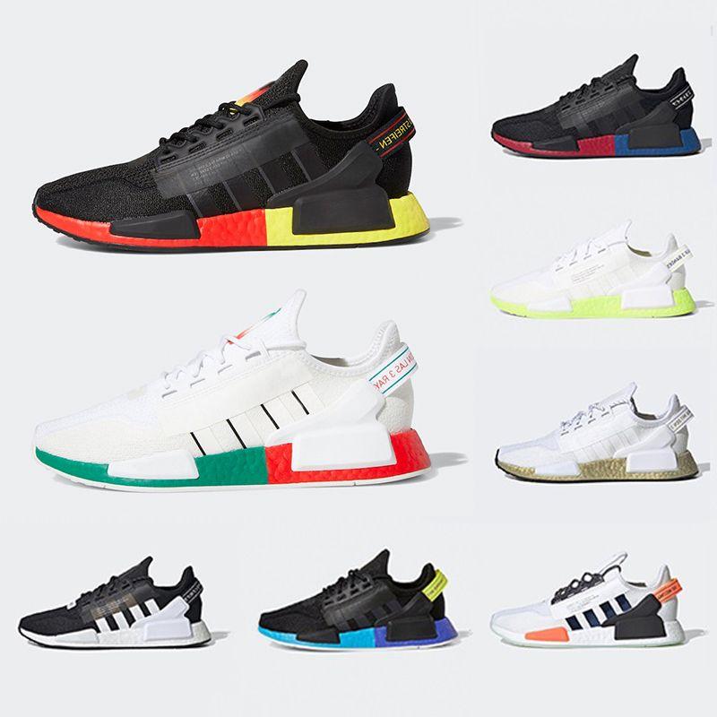Adidias 36-47 NMD Human race Insan Yarış trail Koşu Ayakkabıları Erkekler Kadınlar Pharrell Williams HU Koşucu Sarı Siyah Beyaz Kırmızı Yeşil Gri mavi spor koşucu sneaker