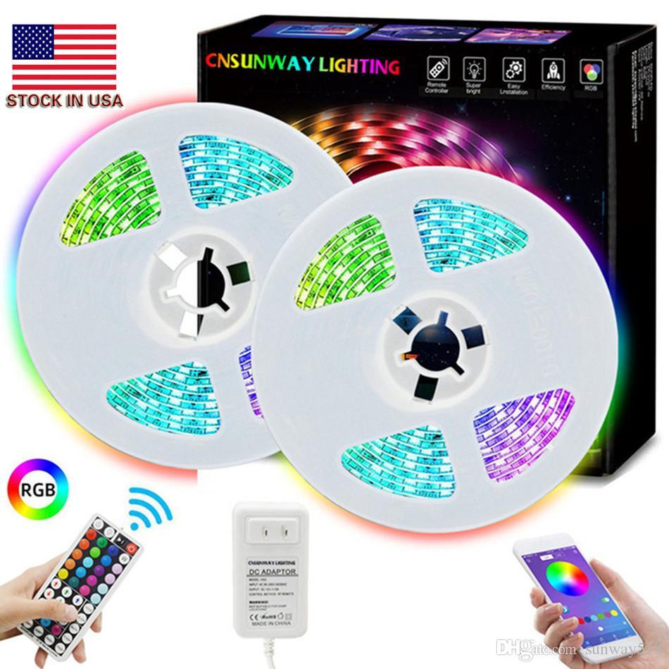 RGB LED luces de tira Bluetooth SMD 5050 inteligente Timing cuerda de luz LED Tiras Kits con 44 Key RF del adaptador del regulador 5A 12V remoto