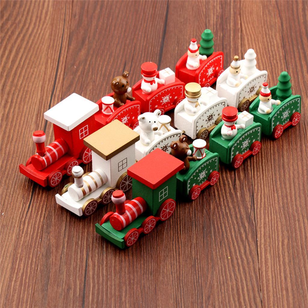 Ornements Train en bois Enfants cadeau Jouets pour la fête de Noël Décoration de la maternelle