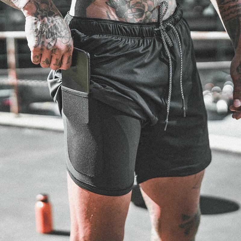Мужские шорты спортивные (заказные) 2 в 1 двухслойный пробежок Дышащий тренировочный тренажерный зал. Меша