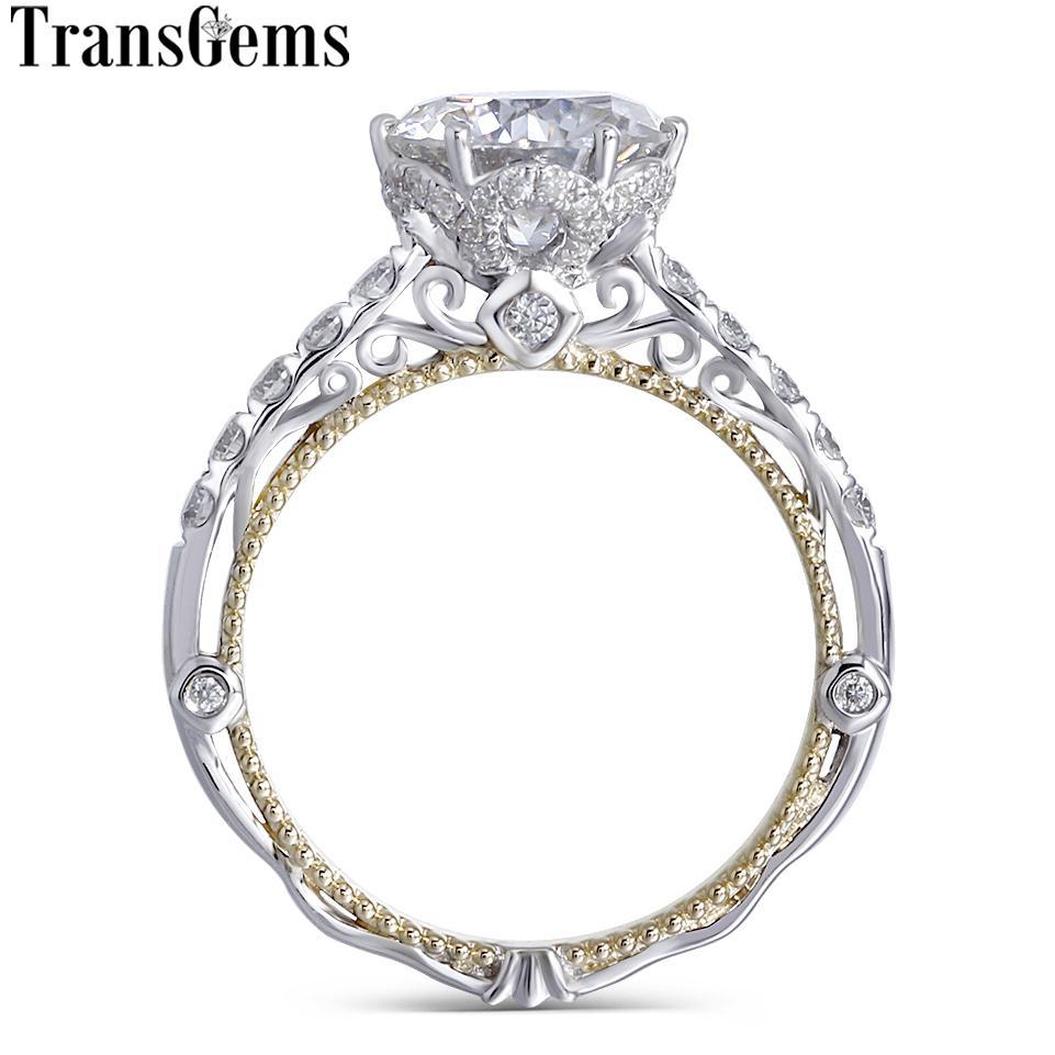 Transgems 14 karat Weiß Und Gelbgold Zentrum F Farbe Moissanite Diamant Vintage Verlobungsring Für Frauen Braut Hochzeit Y19061203