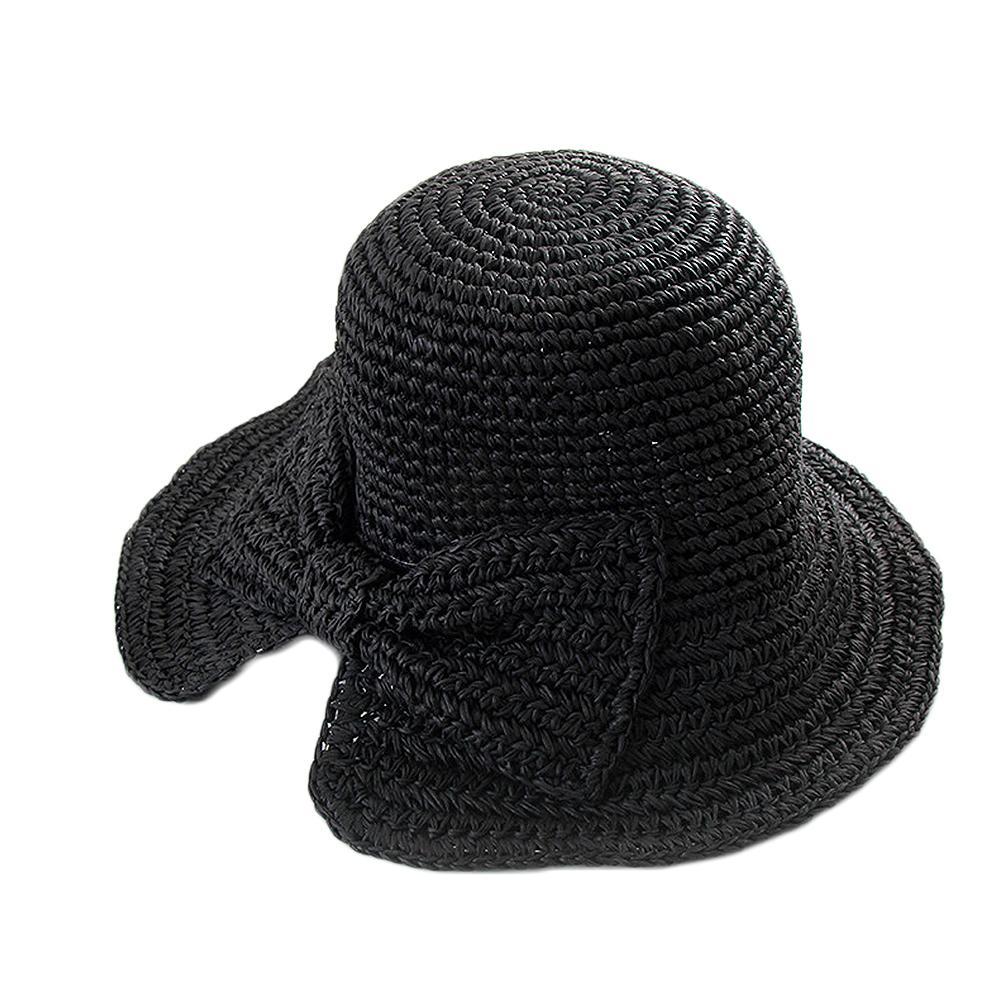 Petit bord de Split Chapeau de paille Femme d'été Bow Sun capeline Chapeaux Femmes Plage de paille Dôme Bucket Chapeaux Bow Pêcheur Pliable Visor
