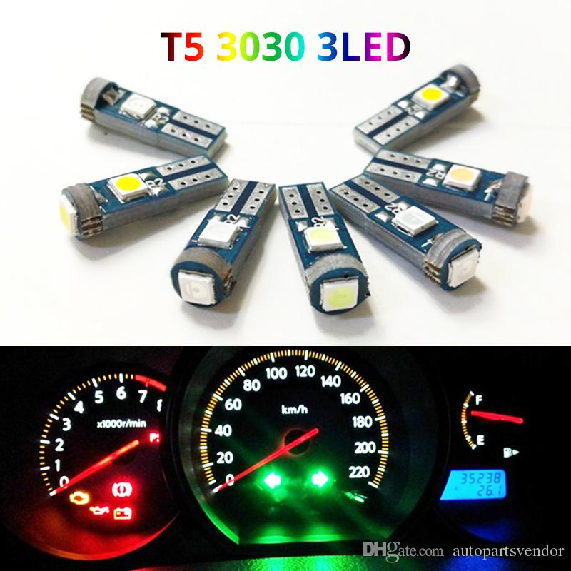 100x T5 74 canbus Auto Lamp 3 3030SMD W3W W1.2W 18 37 70 73 Car Dashboard Warming Indicator Wedge Light Instrument Bulb 12V