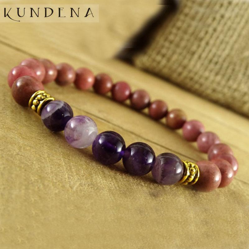 Para mujer púrpura A-Agte moldeados muñecas novia de regalo de Navidad para la pulsera de la esposa de Energía Rodonita pulsera de piedra de curación