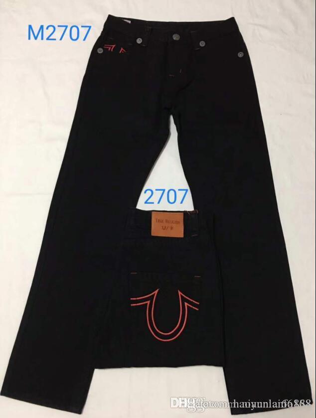 Blanchies Bleu Jeans Hommes droites TRUE RELIGION Denim Pantalons Pocket Deisgn mode Brand Jeans Mens Fit Hip Hop Jeans tr581 C196