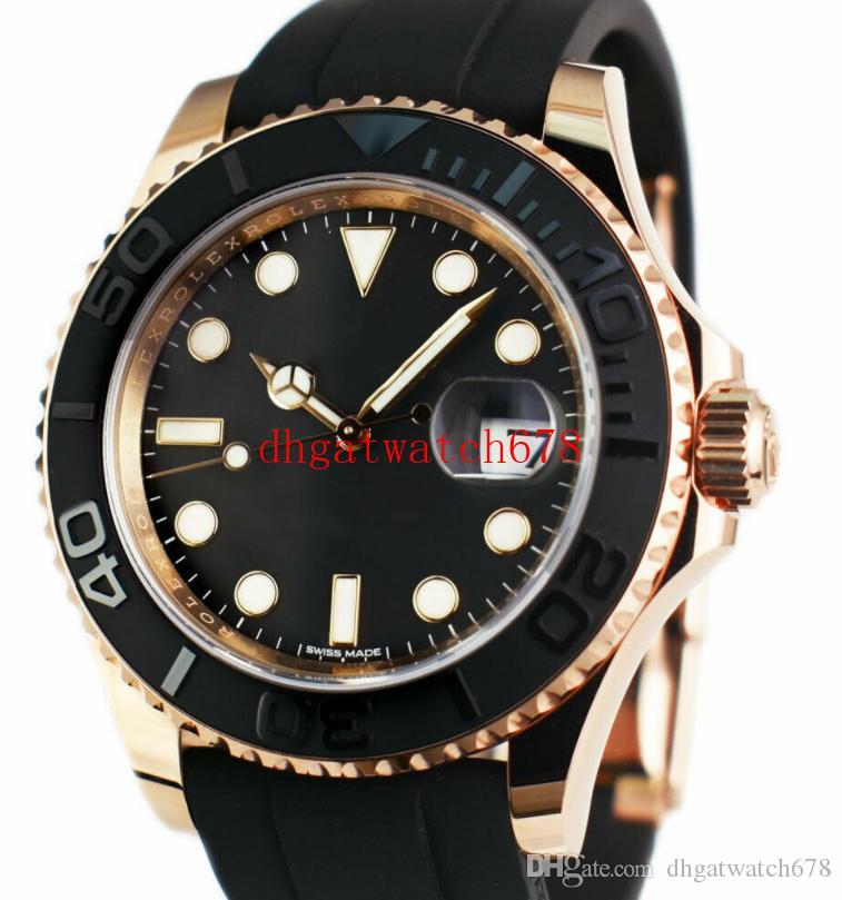 Hohe Qualität Mannuhr 116655 Gummiband Keramik Lünette Saphir automatische Mechinacal Armbanduhrmens Yacht Fashion-Armbanduhr