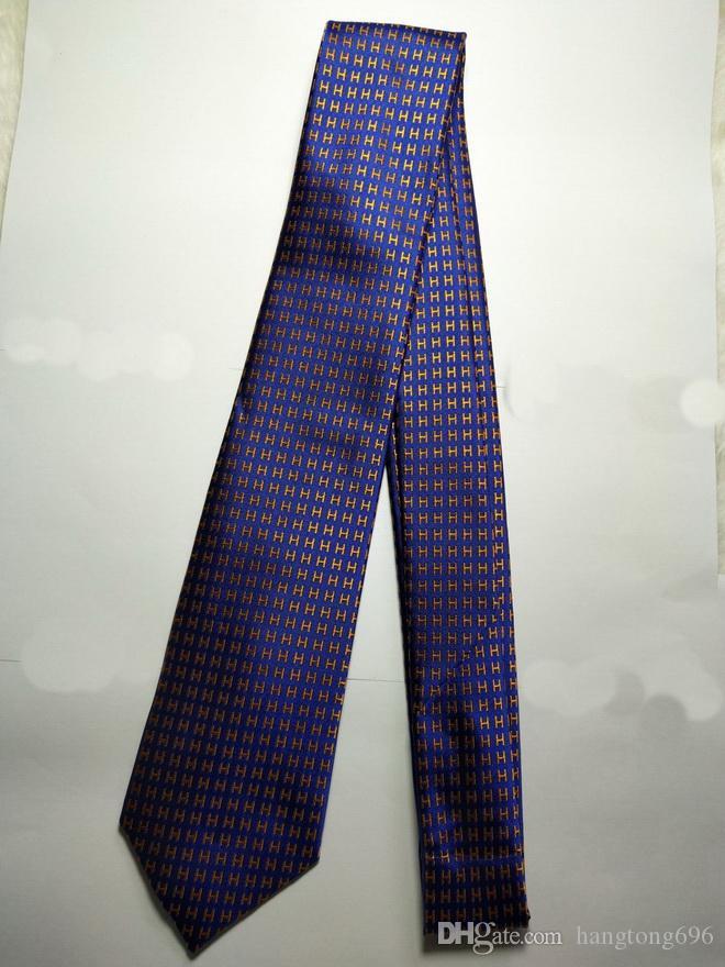 H455 # 100% seta jacquard tessuti, per uomo fatto a mano della cravatta del legame - Blu / Giallo - hangtong696