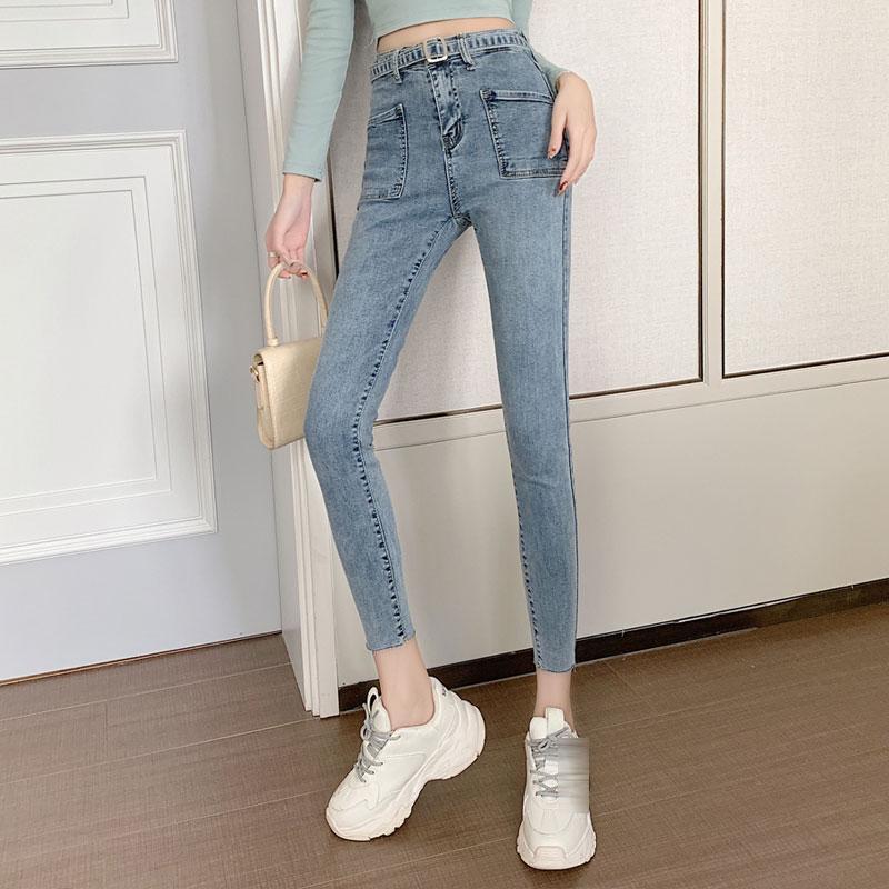 Casual Calças slim magro Magro lápis Mulheres cintura alta Denim alta Elastic Pants mulheres coreanas Denim Jeans 2020