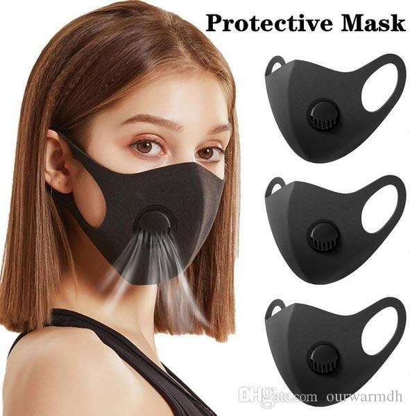 Black Anti Dust Mask with valve PM2.5 Breathing Filters Protective Face Mouth Masks Respirator Washable Reusable Anti Fog Haze Adult